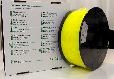 ABS RepRap PT - 1.75mm 1Kg - Amarelo Fluor