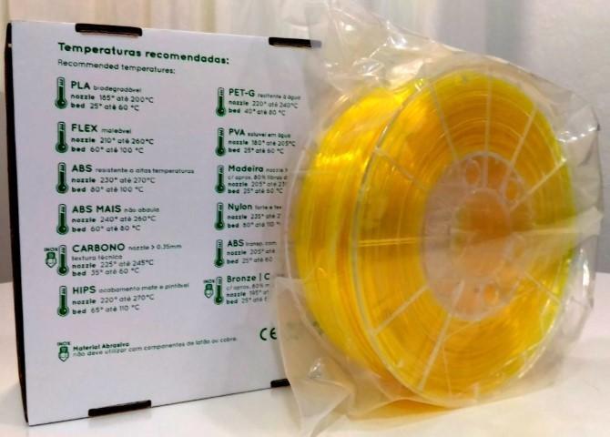 PETg RepRap PT - 1.75mm 1Kg - Amarelo Translúcido