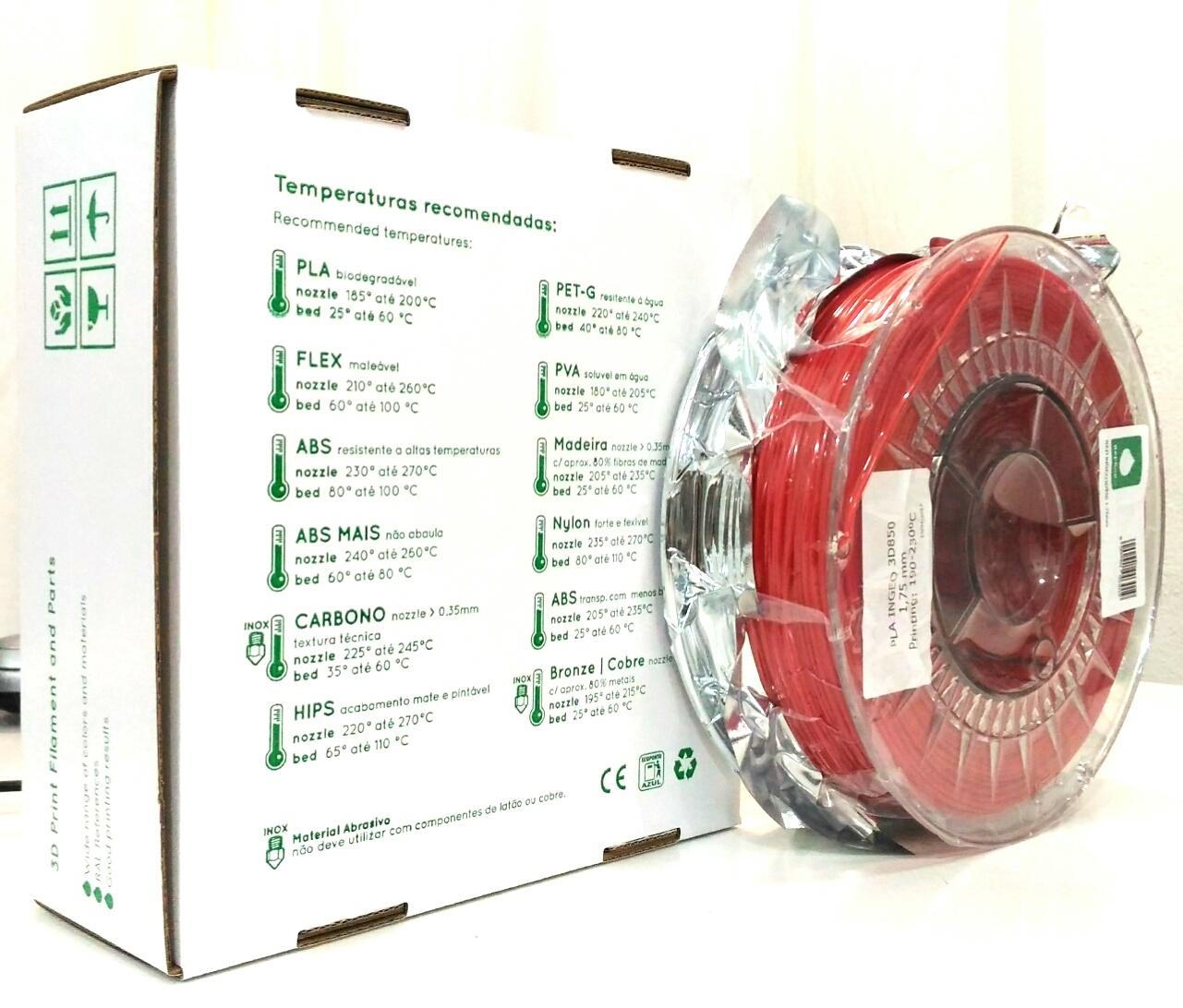 PLA INGEO 3D850 RepRap PT - 1.75mm 1Kg - Vermelho