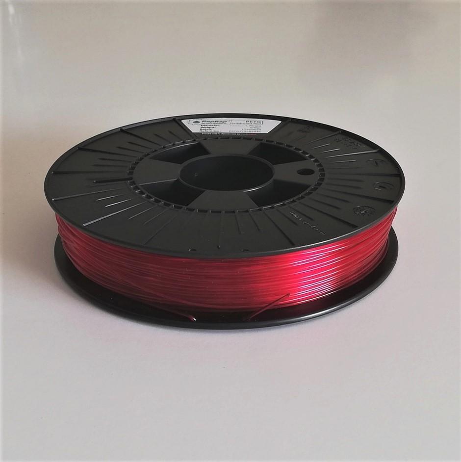 PETg RepRap PT - 1.75mm 500gr - Vermelho Translúcido