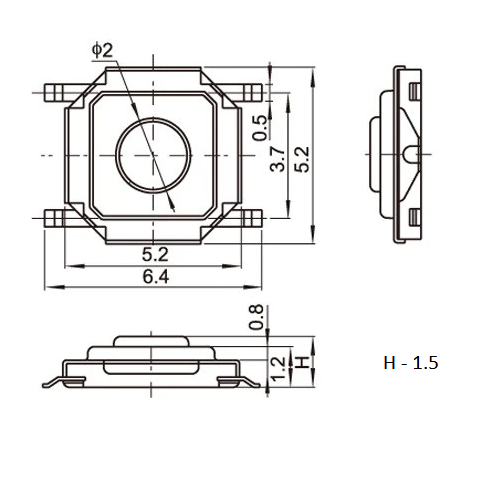 Botão PCB micro
