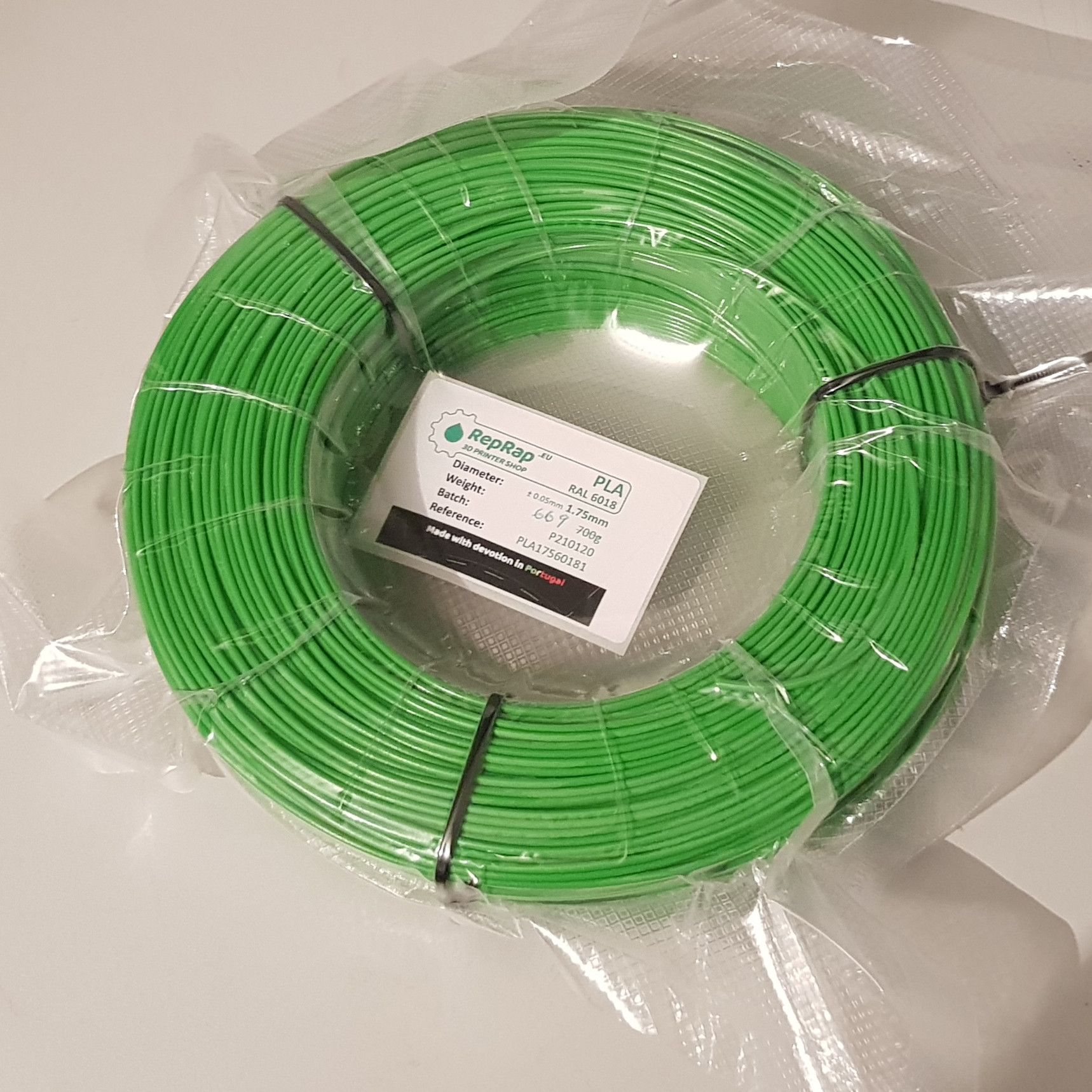 MasterSpool PLA RepRap PT - 1.75mm 700g - Verde RAL 6018