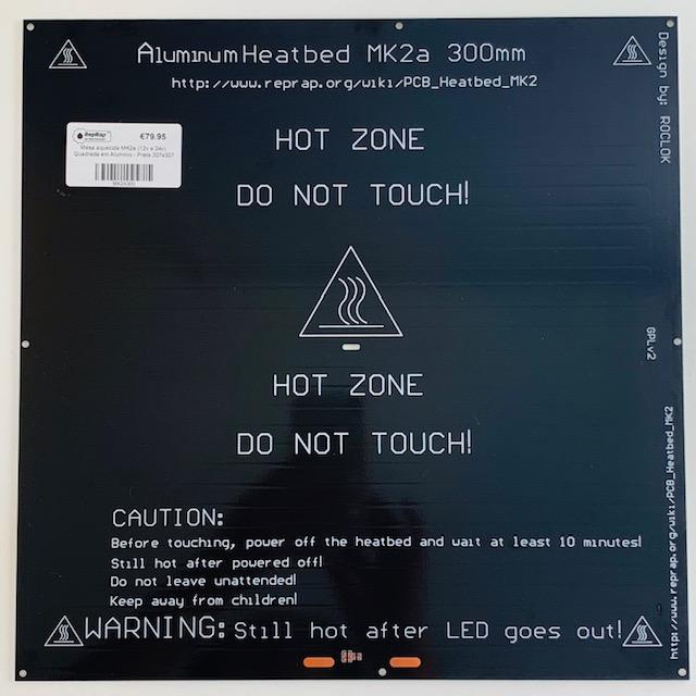 Mesa aquecida MK2a (12v e 24v) Quadrada em Aluminio - Preta 327x327